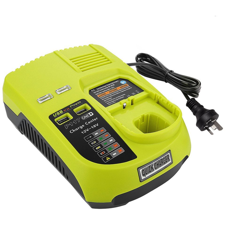 Battery Charger,Battery Pack Power Tool,Rechargeable For Ryobi P117,Ni-Cd Ni-Mh Li-Ion Battery Charger Plastic
