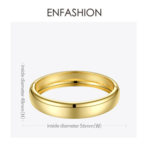 Image 5 - ENFASHION Blank Wide Cuff Bracelets For Women Accessories Gold Color Simple Minimalist Bangles Fashion Jewelry Wholesale B192029
