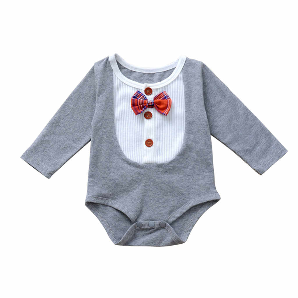 Newborn Baby Girls Romper Infant long Sleeve cotton Gentleman Body suit Bow Splice baby Rompers autumn winter baby clothing
