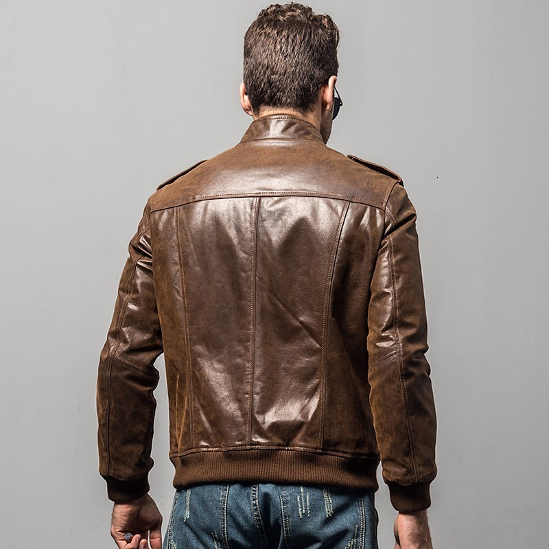 High grade military motorcycle short coat men's literature men's leather real autumn jacket winter zipper skin pigskin coat