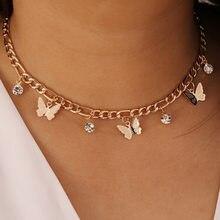 Mode clavicule chaîne déclaration papillon pendentif colliers couleur or Figaro tour de cou chaînes courtes pour les femmes bijoux