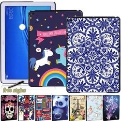 Высококачественный чехол для планшета Huawei MediaPad T3 8,0 8 дюймов/T3 10 9,6 дюймов/T5 10 10,1 дюймов с разным рисунком + Бесплатный стилус