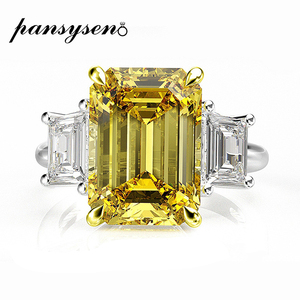 Image 1 - PANSYSEN Elegant lady 10x14mm Citrine Emerald Rings for Women 100% Genuine Sterling Silver 925 Jewelry Ring 6 Colors Size 4 12