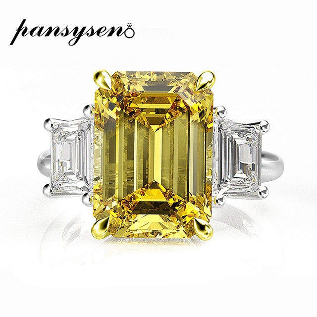 PANSYSEN Elegant lady 10x14mm Citrine Emerald Rings for Women 100% Genuine Sterling Silver 925 Jewelry Ring 6 Colors Size 4 12