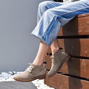 Image 4 - 발목 부츠 여성 정품 스웨이드 가죽 레이스 높은 상위 더비 신발 가을 플랫 힐 레이디 신발 BeauToday 04018
