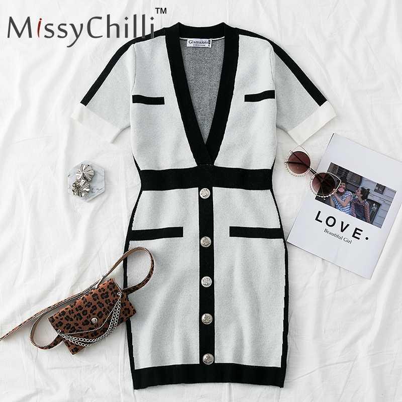 MissyChilli פסים קצר לבן שמלת נשים העמוק V צוואר סרוג slim חורף שמלת וינטג סתיו bodycon סקסי המפלגה מיני שמלה