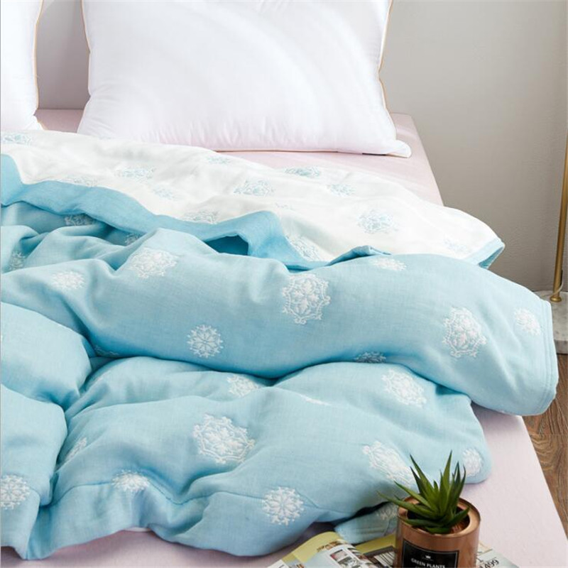 8 Layers Muslin Cotton Gauze Blanket Soft Throw Plaid For Adults On Bed/Sofa/Plane/Travel Bedspread 150*200cm And 200*230cm