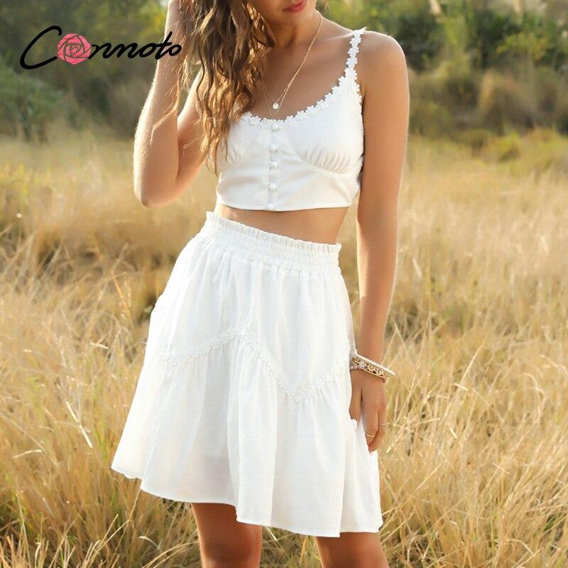 Conmoto 2 Pecs White Lace Solid Dresses Women Beach Casual Spaghetti Strap Sexy Dress Ruffles Button Ruched Dresses Vestidos