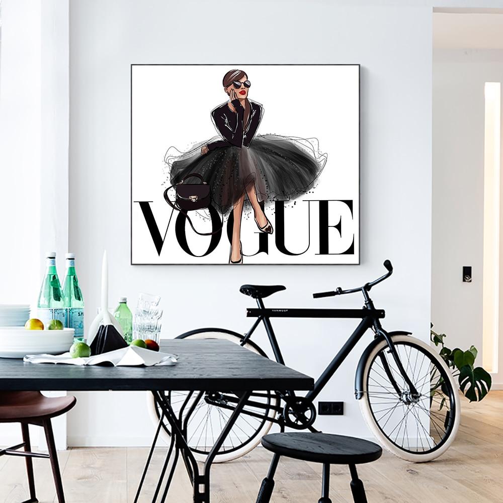 LECHAO Quadro Figura de Moda Vogue Parede Posters and Prints Pop Art Pintura sobre Tela Imagem Home Decor No Frame