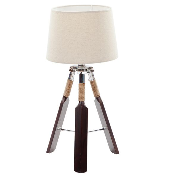 Тканевый абажур деревянный треугольник весло настольные лампы украшения настольные лампы для чтения спальня рядом с освещением