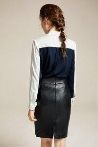 Image 4 - 100% ピュアシルクの女性の滑走路シャツターンダウン襟プリントカラーブロック長袖エレガントなブラウスファッショントップス