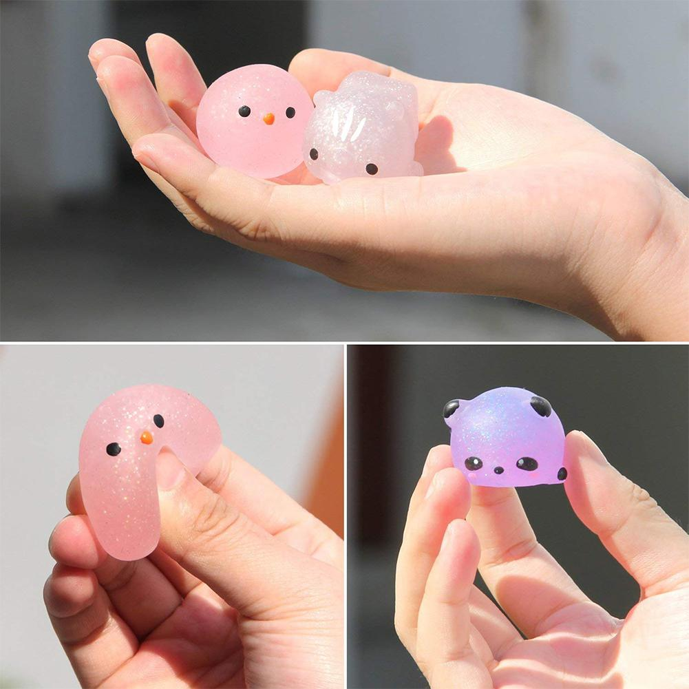None 30Pcs Mochi Squishy Toys Glitter Mini Animal Shaped Squishies Toys Party Favors For Kids Stress Relief Toys Xmas Gifts