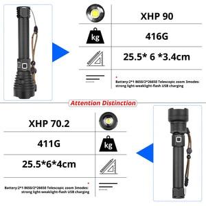 Image 3 - XLamp XHP90 en güçlü Usb zumlanabilir Led el feneri Xhp70.2 taktik flaş ışıklı fener 26650 veya 18650 pil avcılık için