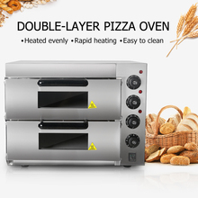 Double-Layer Pizza Oven 220/240V Bakery Infrared Heater Double Layer Baking Commercial Bread Toaster Stone
