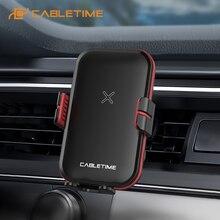 CABLETIME soporte para cargador de coche, 15W, bobina de inducción de luz LED, carga inalámbrica para Xiaomi, Huawei, iPhone 12 pro max, soporte para coche C392