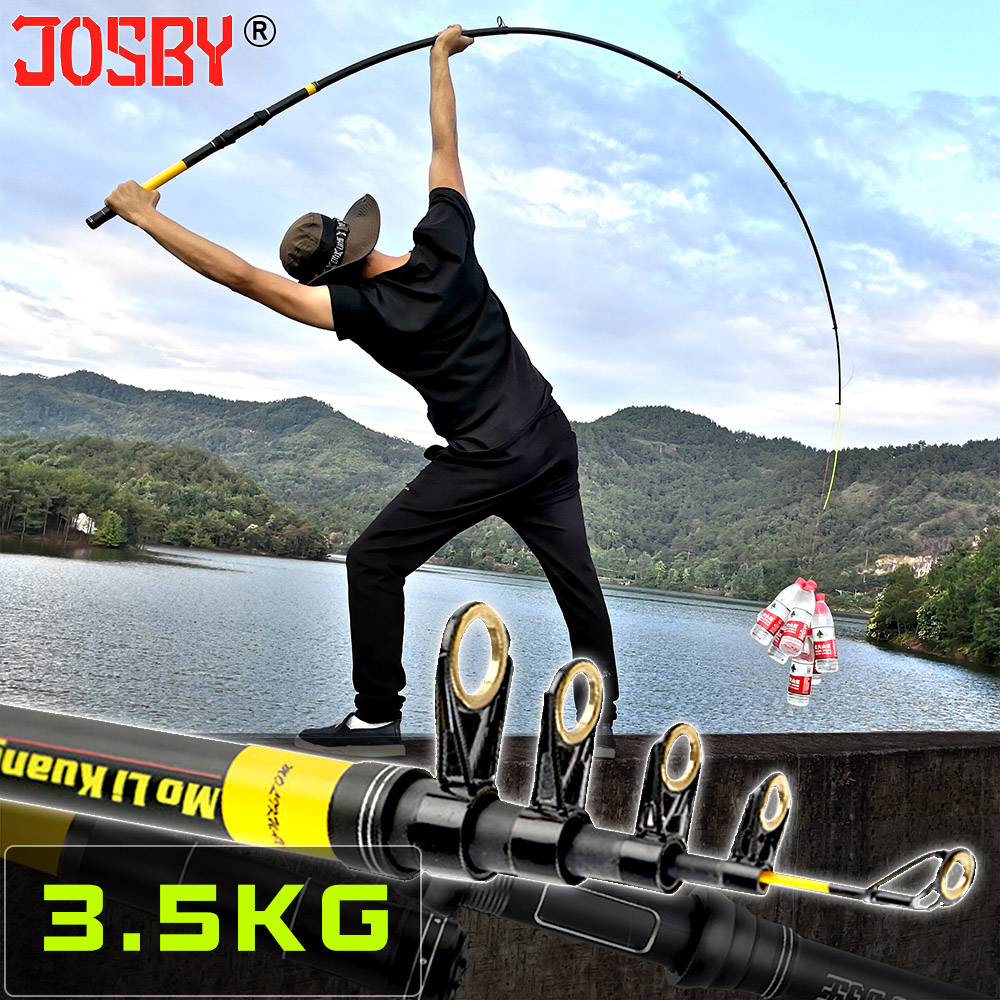 JOSBY Telescopic Fishing Rod Pesca FRP Portable High Performance Spinning reel Sea carp Fishing Pole 2.1M 2.4M 2.7M 3.0M 3.6M