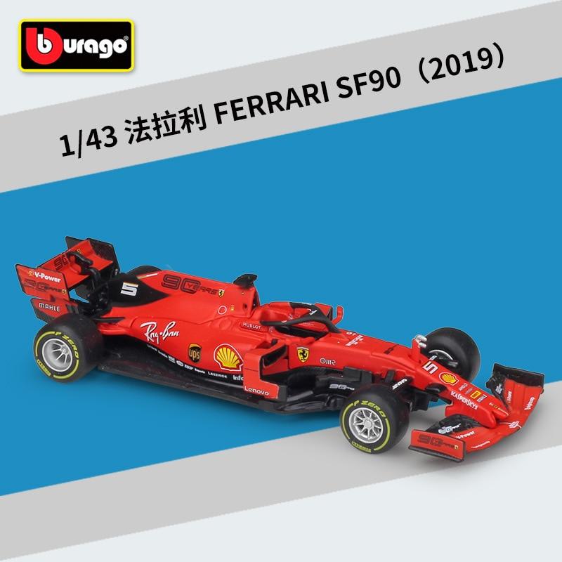 Bburago diecast 1:43 escala 2019 metal f1 carro formulaa 1 carro de corrida f1 modelo carro sf70h/71 h/90 liga brinquedo carro coleção presente do miúdo