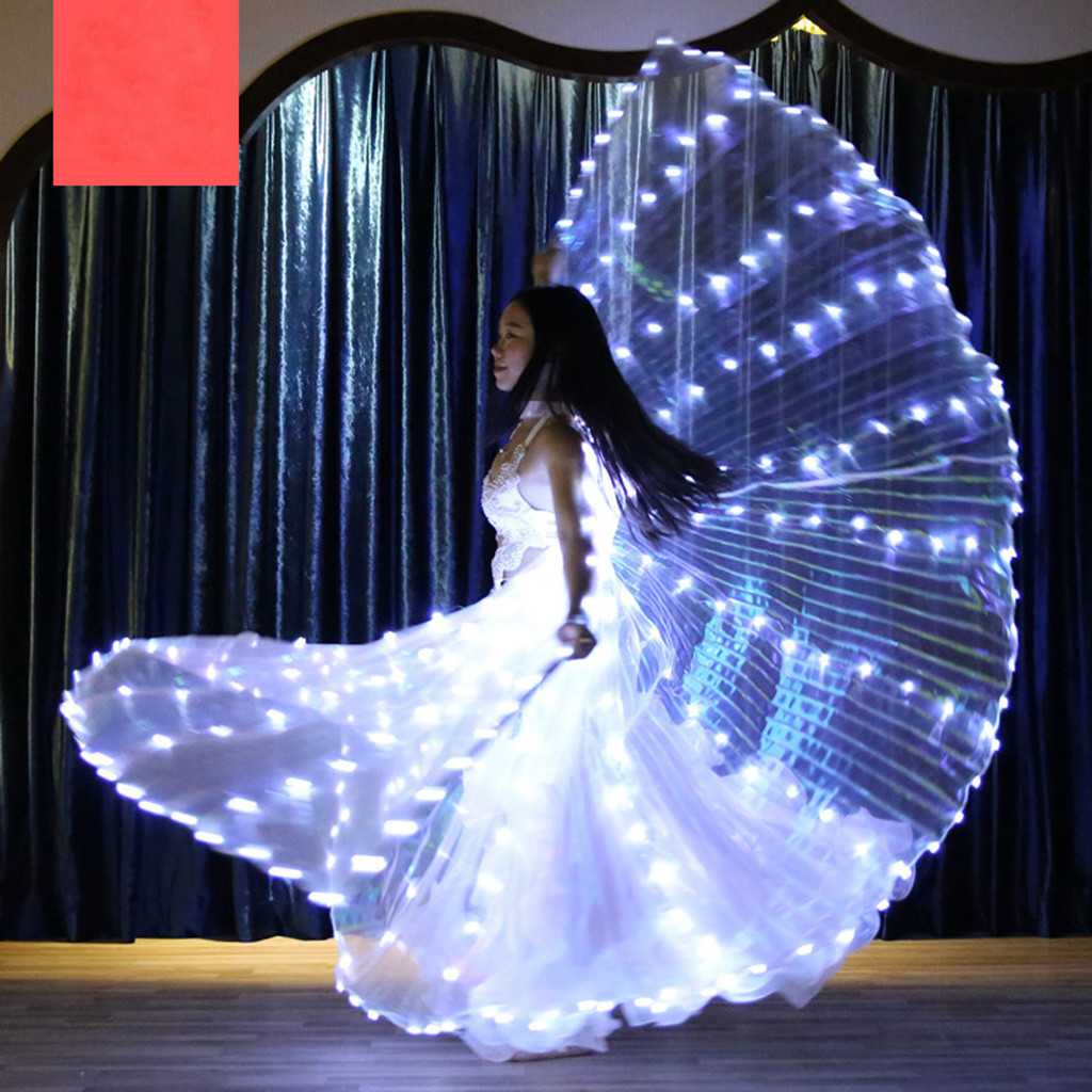 Glow In The Dark Rave Accessories жабо Frill LED Belly Dance Angel Isis Wings Butterfly Wings With Telescopic Sticks #3