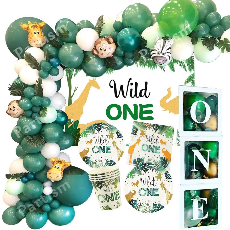 Новинка! И надписью «Wild One» День рождения воздушные шары джунгли для вечеринки в стиле сафари лесное Украшение Дети первого 1st на день рожден...