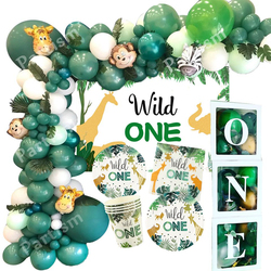 New! Wild One Birthday Party Balloons Jungle Safari Party Forest Decoration Kids First 1st Birthday Safari Jungle Party Supplies