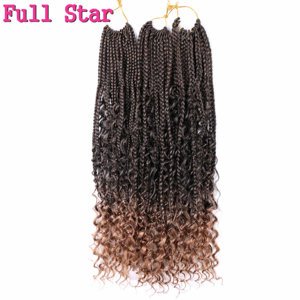 Full Star Box braid with Split Ends Synthetic Crochet Hair Extension 12 Strands Black Ombre  Brown Bug Crotchet Braids Hair