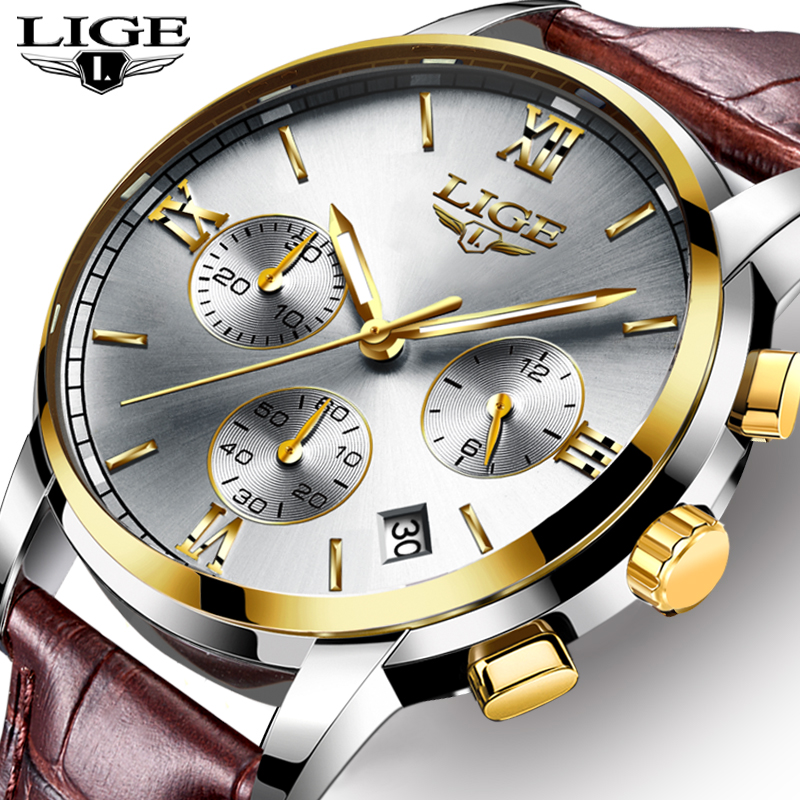 <font><b>LIGE</b></font> Men Watches Top Luxury Brand Leatherl Waterproof Sport Quartz Watch Men Fashion Date Clock Chronograph Relogio Masculino image