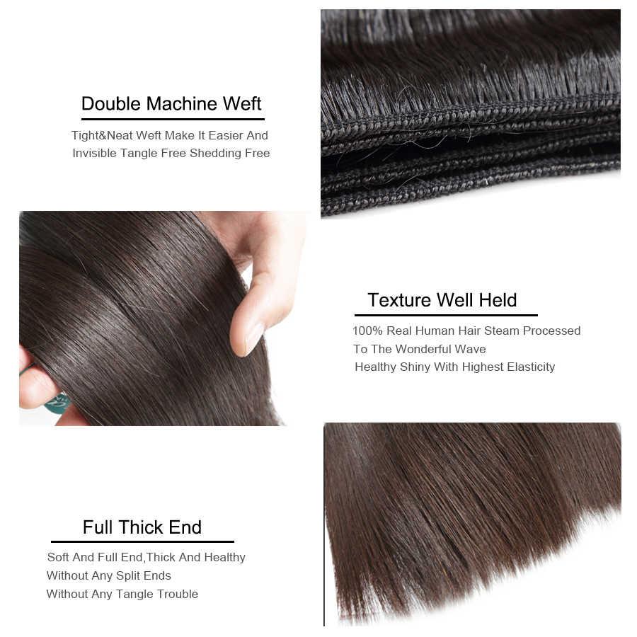 Queenlife 28 30 32 34 36 38 40 inç düz saç demetleri perulu saç demetleri Remy insan saçı örgüsü ipeksi saç 1/3/4 parça