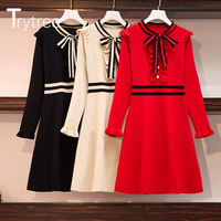 Trytree 2019 Autumn Winter Women Casual Ruffle Dress Elegant Bow Patchwork 3 Colour A line Loose Fashion Office Lady Mini Dress