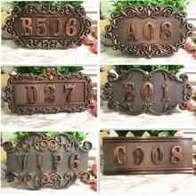 ABS imitación de metal bronce, cobre antiguo número de casa personalizado signo número de puerta pegatina para hotel apartamento puerta
