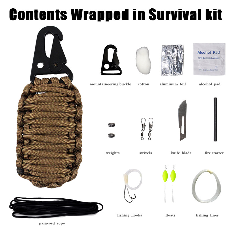 SOS Outdoor Travel Survival Multifunctional Tool First Aid Kit Emergency Parachute Cord Weaving Set Supplies