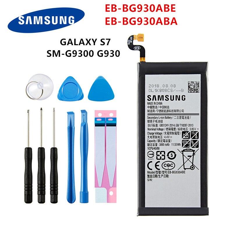 SAMSUNG Orginal EB-BG930ABE EB-BG930ABA 3000mAh Battery For SAMSUNG GALAXY S7 SM-G9300 G930F G930A/L/V G9308 G930L G930P +Tools