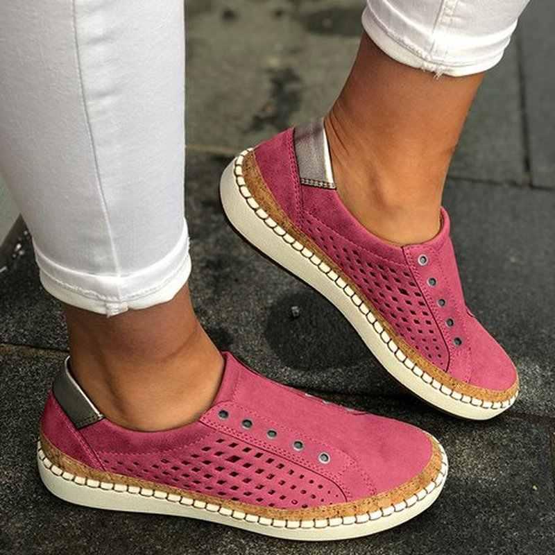 2019 Nefes Kadınlar vulkanize ayakkabı Bahar Kadın rahat ayakkabılar Moda Hollow Out Kadınlar Sneakers Hafif Daireler Torridity