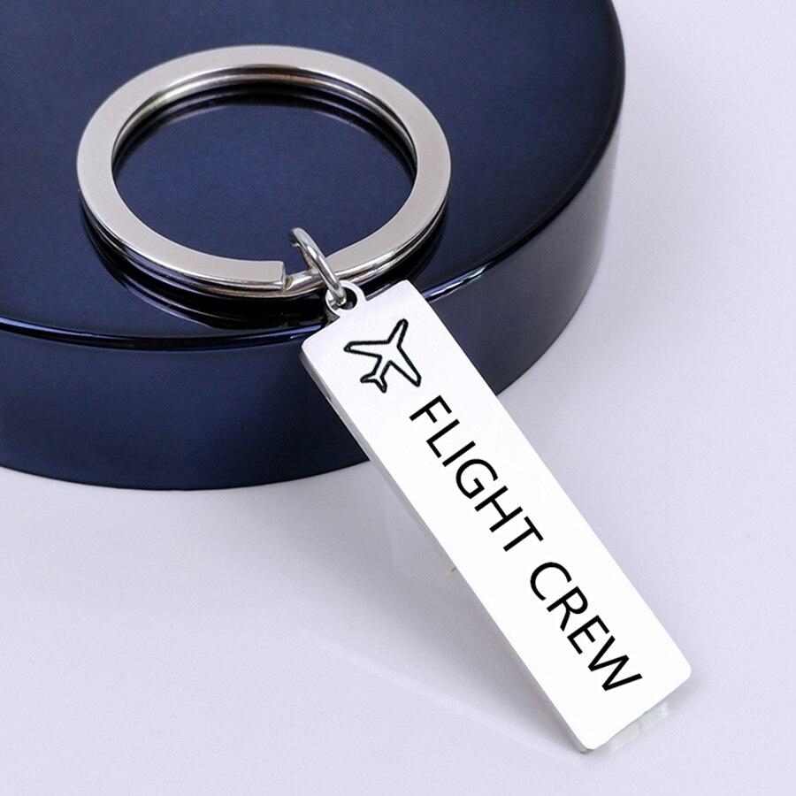 FLIGHT CREW Keyring Fly Safe Plane Keychain Gift For Couples Women Men Boyfriend Husband Pilot Flight Attendant Airplane Key Fob