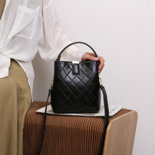 New 2019 Fashion Diamond Lattice Bucket Bag PU Leather Handbags Women Messenger Bag Brand Designer Shoulder Bags Ladies Tote Sac 2017 women s handbags fashion wild tassel bucket bag tote leather women messenger bags girls for shoulder bag brands designer