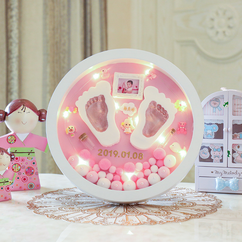 Modeling Clay Hand Foot Diy Baby Photo Frame LED Light Slime Handprint Footprints Colored Clay Souvenir Newborn Baby Plasticine