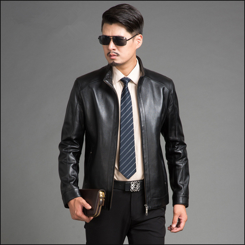 Sheepskin Black Leather Jacket Men Parka Chaqueta Cuero Hombre 2020Business Genuine Leather Jackets Plus Size 4XL FYY582 S