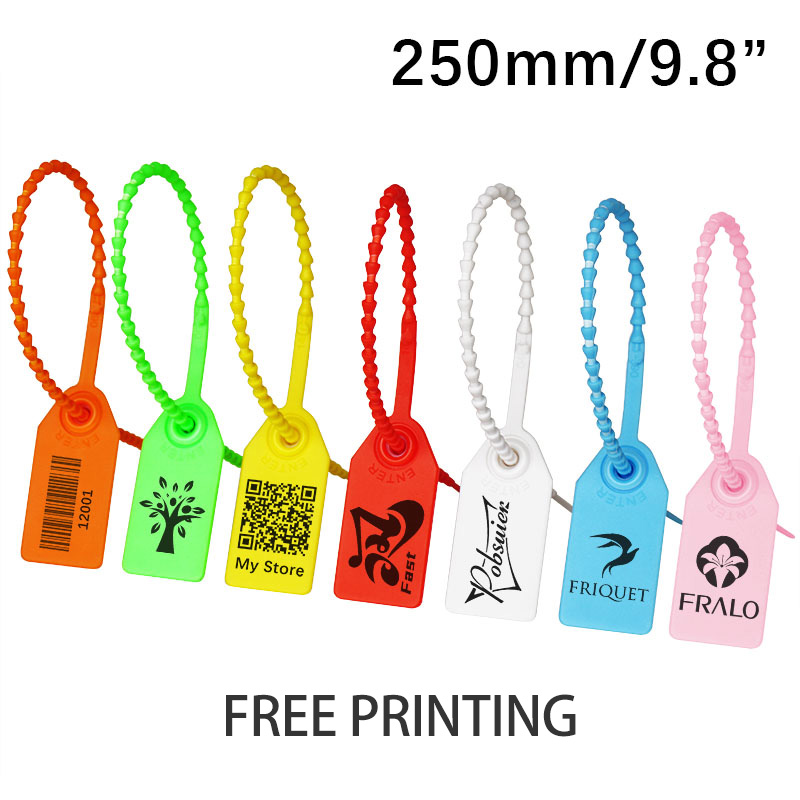 100 Custom Print Hang Tags Beaded Plastic Cable Zip Ties Garment Clothing Shoe Bag Security Brand Logo Tag Label Seal 250mm/9.8