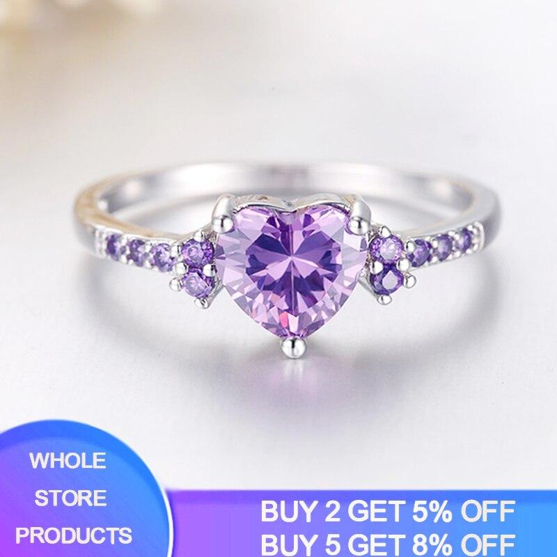 Free Sent Certificate Fashion Women Wedding Jewelry Cute Heart Heart Design Purple Crystl Amethyst Silver 925 Ring Dropshipping