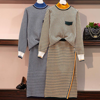 Autumn Women Knited Two Piece Set Skirt Suits Plaid Print Women Turtleneck Sweater Pullovers Top And One Step Pencil Skirt Sets