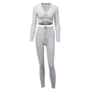 Image 5 - Toplook Womens Two Piece Sets V neck Long Sleeve 2019 Sexy Crop Tops Pants Autumn Feminine Matching Sets Streetwear Tracksuits