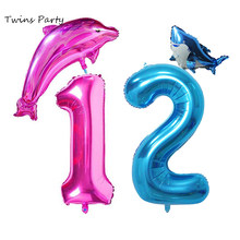 Twins 1st Geburtstag Baby Blue Shark Luftballons Sharknado Geburtstag Party Meer Ozean Thema Shark Nummer 1 2 3 Kinder Geburtstag decor(China)