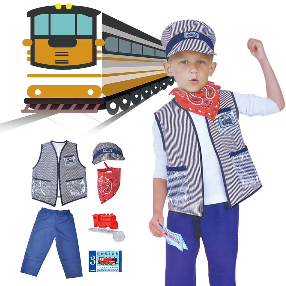Train Driver Impersonates Children's Costume Set For Schoolgirl And Boy Party Uniform Set For Toy Train Driver Impersonates