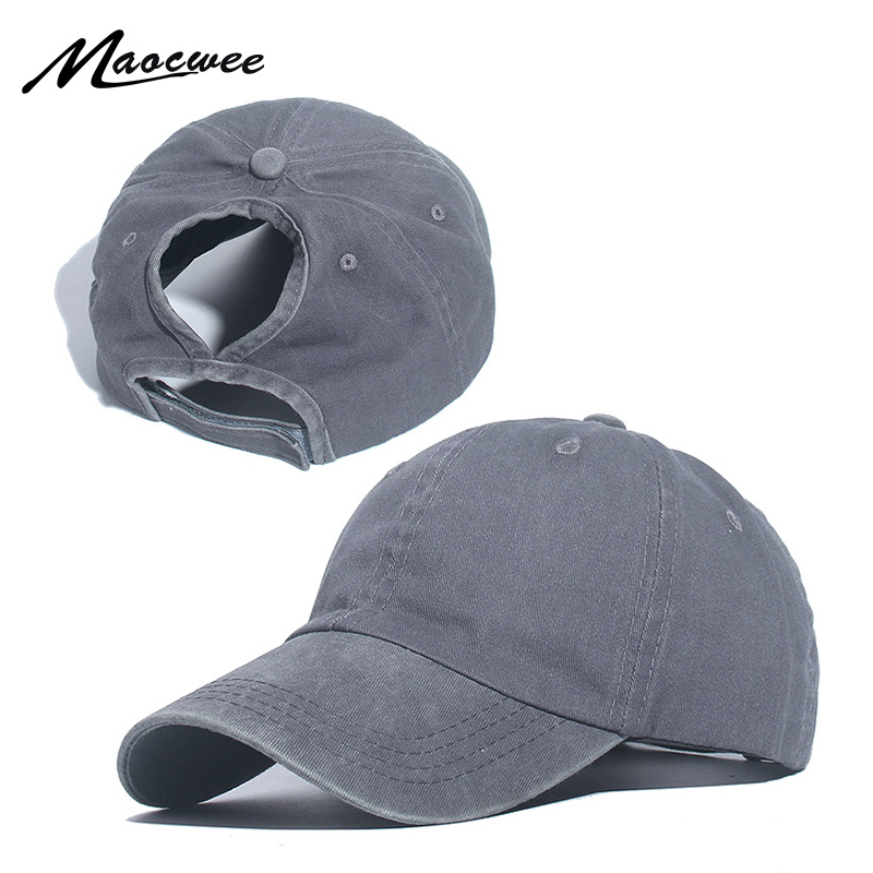 Ponytail Baseball Cap Women Mesh Baseball Hats Summer Beach Cap Solid Color Snapback Girl Sun Hats With Hole Outdoor Sports Cap