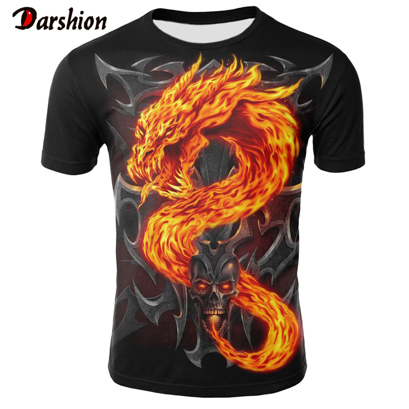 Men's T Shirt  Fashion Top Horror Skull Print Shirt 3D Printed Tshirts With Flame Dragon Pattern Summer Short Sleeve For Male