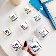 Air ticket Welt stadt Etikett Klar Luxus Label Bar code für AirPods fall Bluetooth Headset fall für Air schoten 2 1 TPU weichen fall