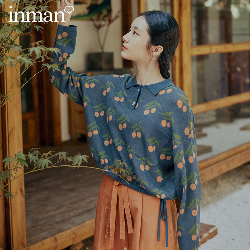INMAN 2020 Spring New Arrival Literary Polo Collar Friut Cherry Drawstring Long Sleeve Knitted Sweater