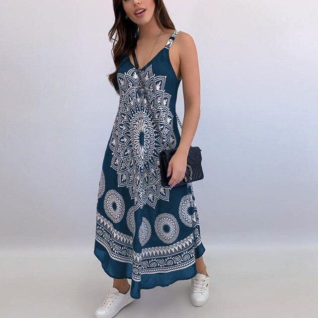 Women Sexy Backless Sleeveless Loose Beach Dress Summer Vintage Print Long A-Line Dresses Elegant Casual Strap Dress Vestido 3XL 4