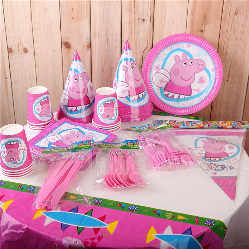 Peppa Pig Birthday Decoration Party  Supplies Sets Anime Figure Disposable Dinner Plate Fork Cups Hats Plate Dinner Plate Toys