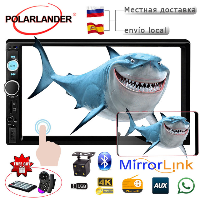 PolarLander AutoRadio car Radio <font><b>2</b></font> <font><b>DIN</b></font> Bluetooth Mirror Link for Android LCD 7 Touch Screen car radio cassette player auto tape image