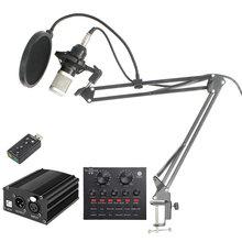 цена на Professional Condenser Wired Mic Bundle BM800 Studio Microphone Vocal Recording KTV Karaoke Microphone Mic Stand For Computer